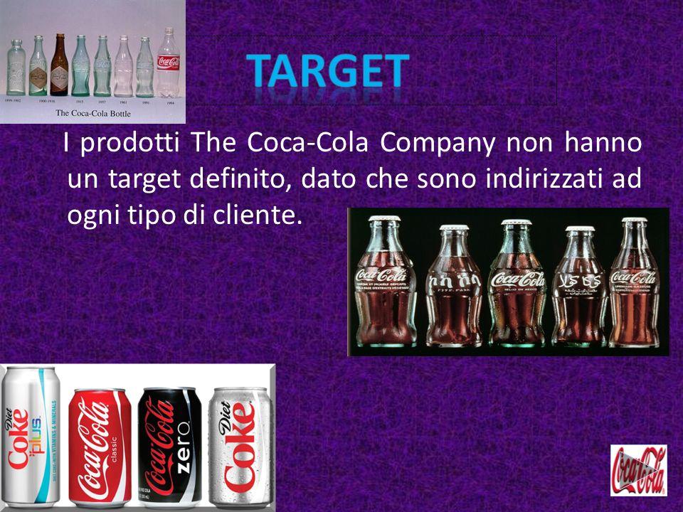 target I prodotti The Coca-Cola Company non hanno un target definito, dato che sono indirizzati ad ogni tipo di cliente.