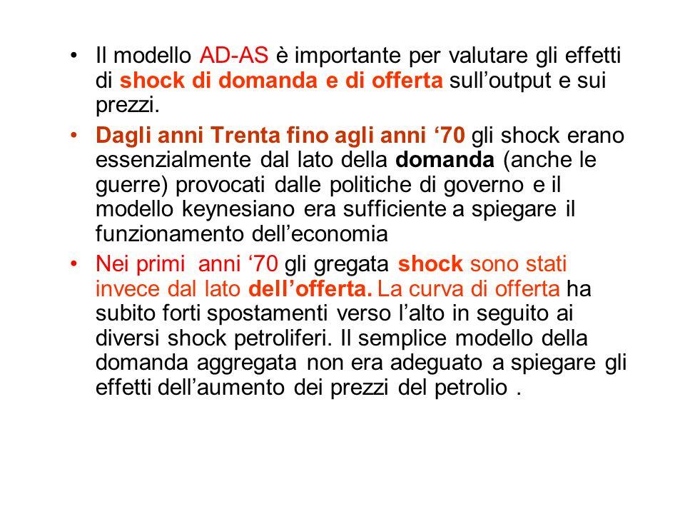 Il modello AD-AS è importante per valutare gli effetti di shock di domanda e di offerta sull'output e sui prezzi.