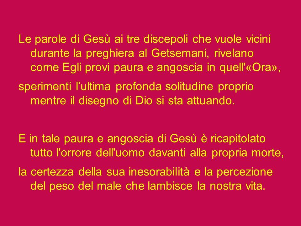 Le parole di Gesù ai tre discepoli che vuole vicini durante la preghiera al Getsemani, rivelano come Egli provi paura e angoscia in quell «Ora», sperimenti l'ultima profonda solitudine proprio mentre il disegno di Dio si sta attuando.