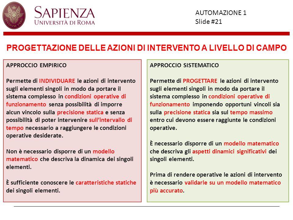 PROGETTAZIONE DELLE AZIONI DI INTERVENTO A LIVELLO DI CAMPO