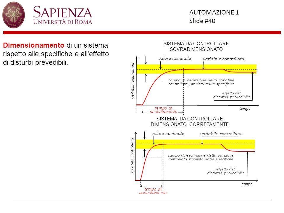 Dimensionamento di un sistema rispetto alle specifiche e all'effetto