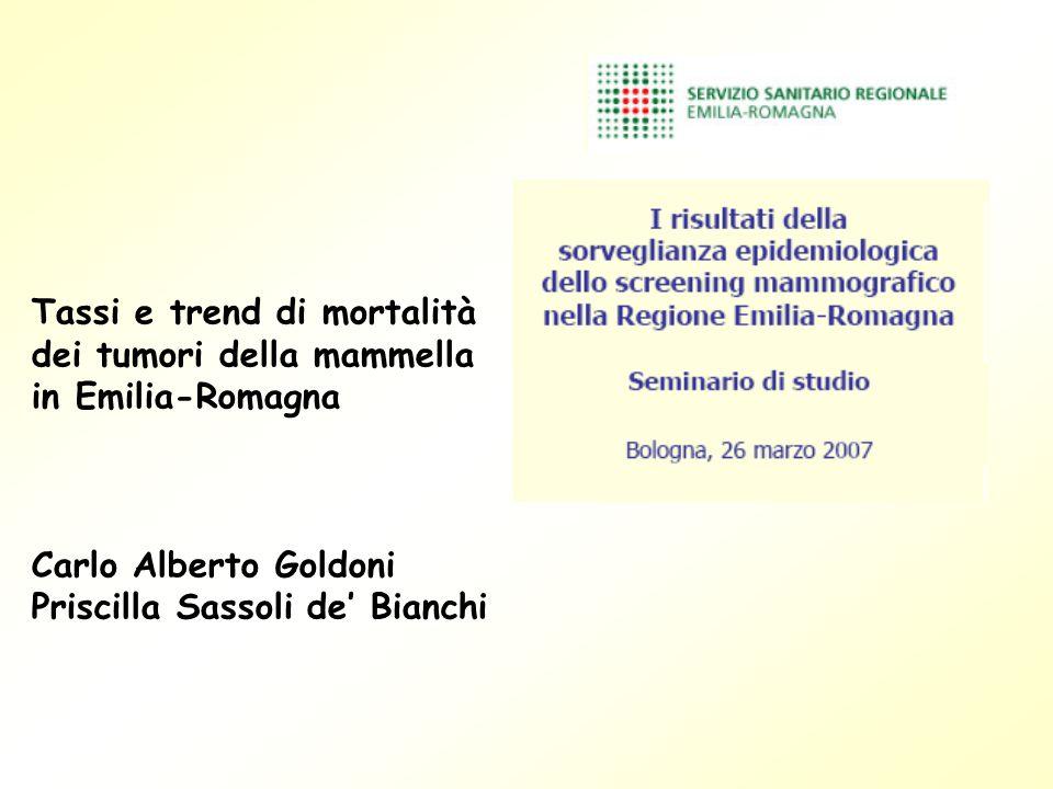 Tassi e trend di mortalità dei tumori della mammella in Emilia-Romagna