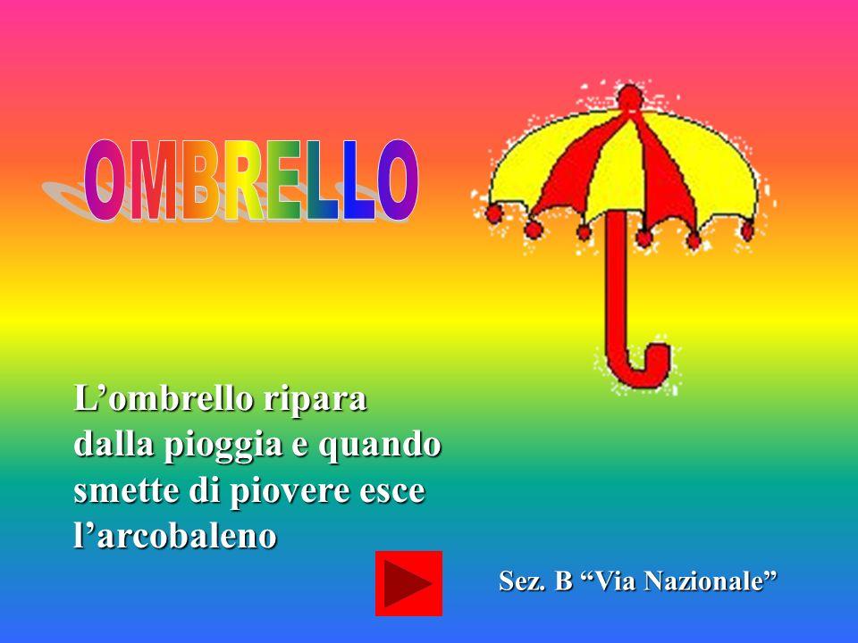OMBRELLO L'ombrello ripara dalla pioggia e quando smette di piovere esce l'arcobaleno.