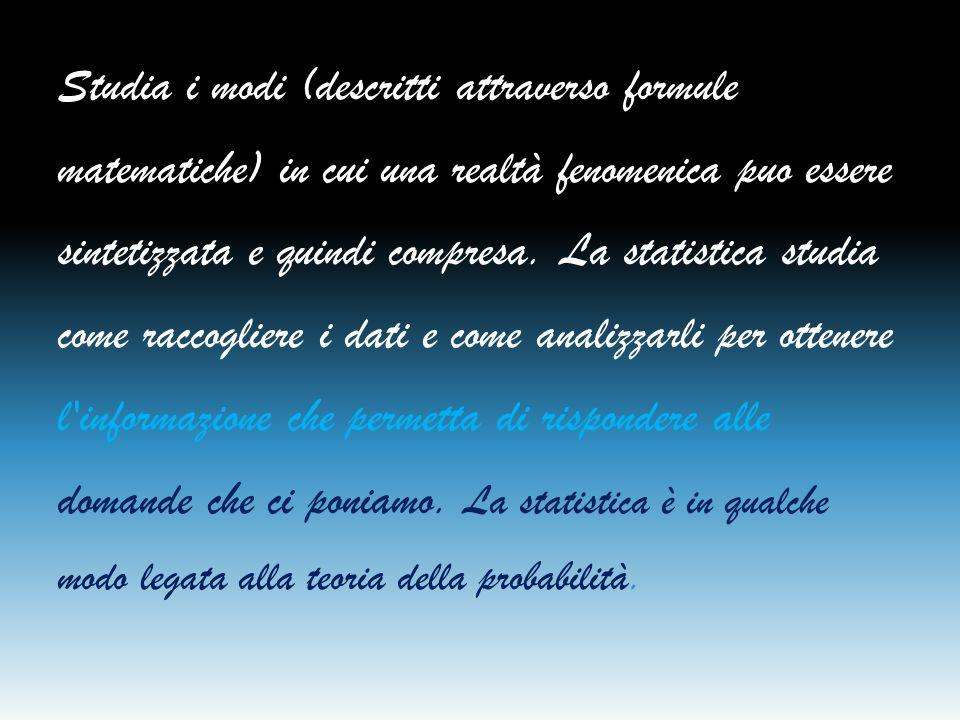 Studia i modi (descritti attraverso formule matematiche) in cui una realtà fenomenica puo essere sintetizzata e quindi compresa.