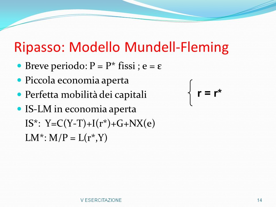 Ripasso: Modello Mundell-Fleming