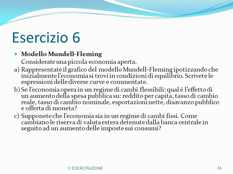Esercizio 6 Modello Mundell-Fleming