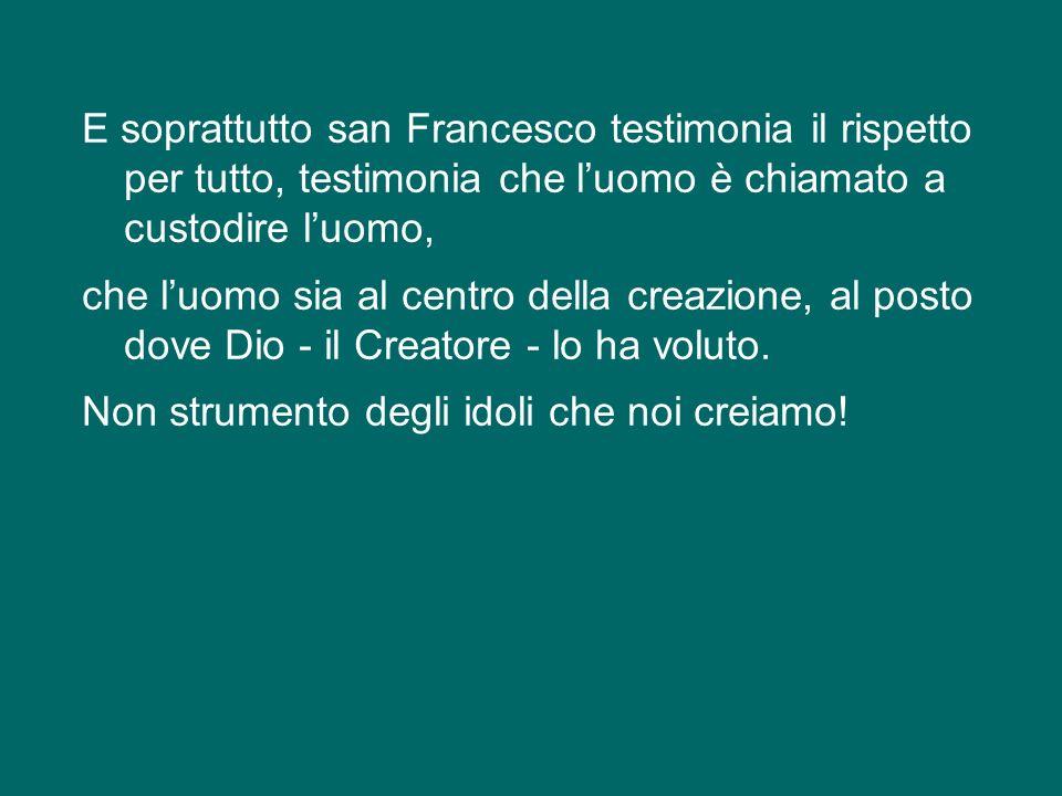 E soprattutto san Francesco testimonia il rispetto per tutto, testimonia che l'uomo è chiamato a custodire l'uomo, che l'uomo sia al centro della creazione, al posto dove Dio - il Creatore - lo ha voluto.