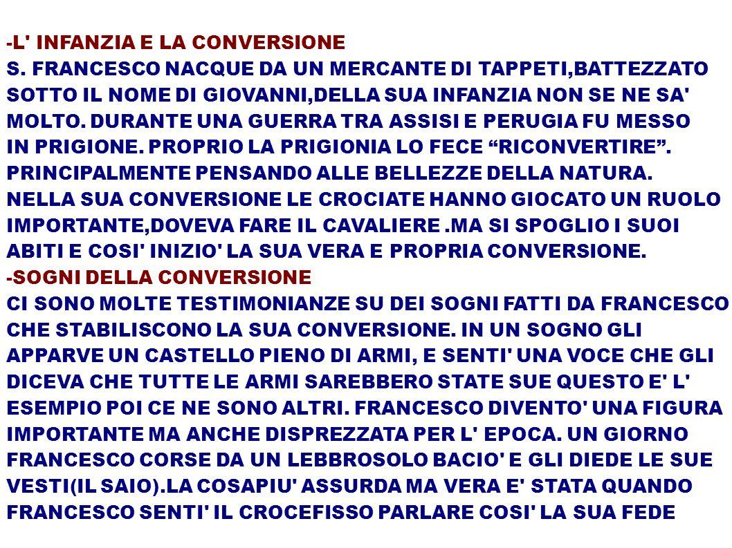 -L INFANZIA E LA CONVERSIONE