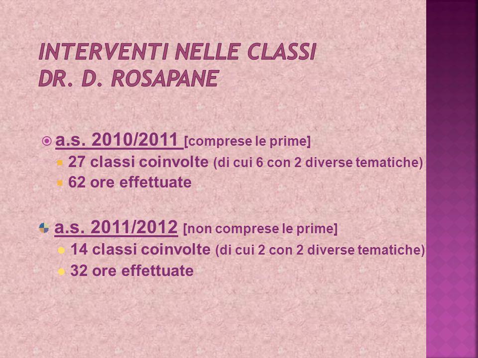 Interventi nelle classi Dr. D. Rosapane