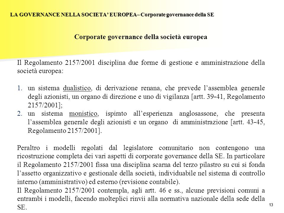 Corporate governance della società europea