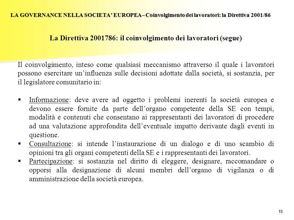 La Direttiva 2001786: il coinvolgimento dei lavoratori (segue)