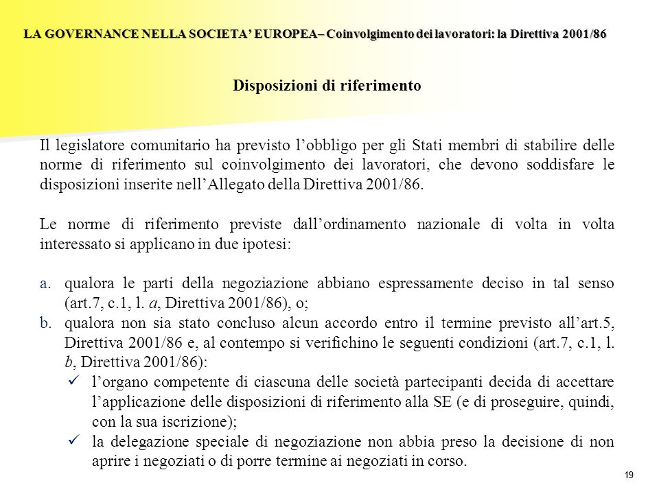 Disposizioni di riferimento