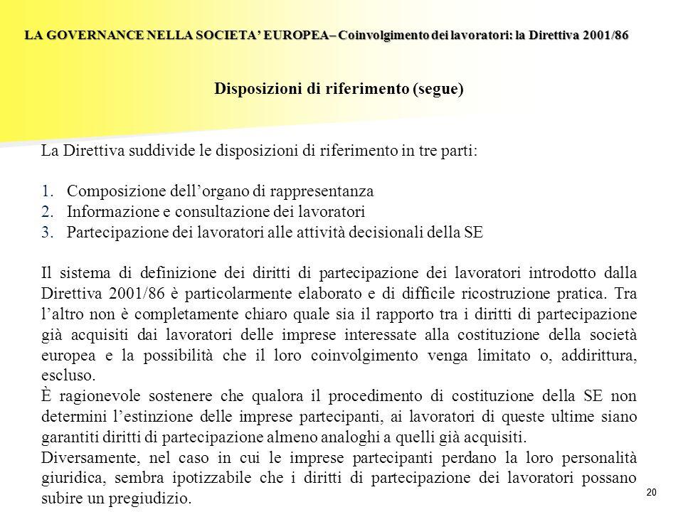 Disposizioni di riferimento (segue)
