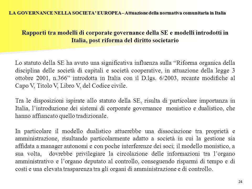 LA GOVERNANCE NELLA SOCIETA' EUROPEA– Attuazione della normativa comunitaria in Italia