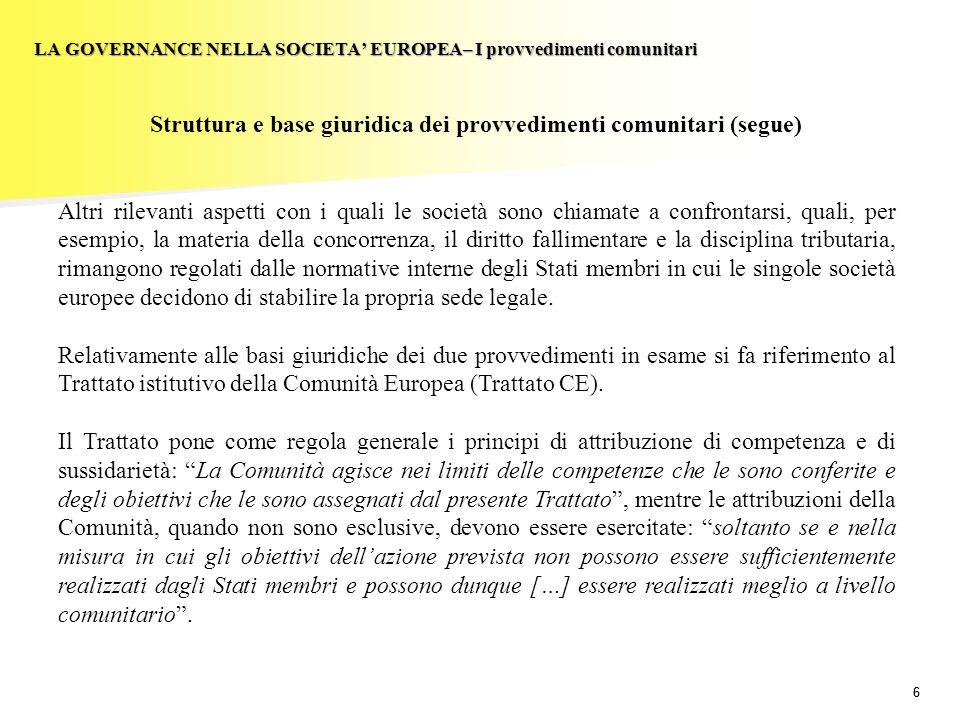 Struttura e base giuridica dei provvedimenti comunitari (segue)