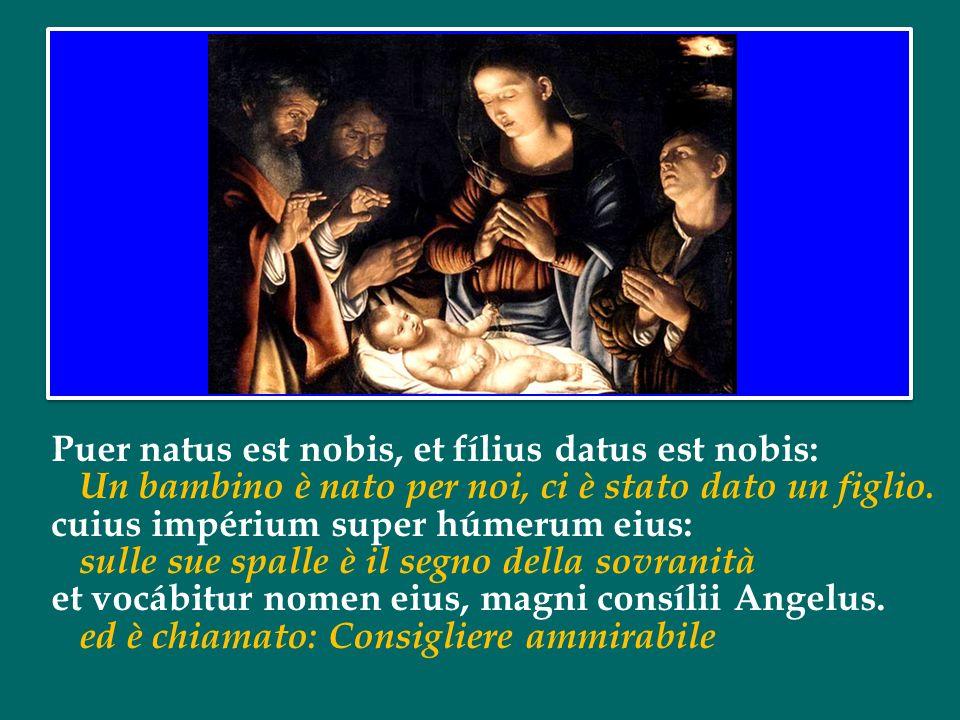Puer natus est nobis, et fílius datus est nobis: Un bambino è nato per noi, ci è stato dato un figlio.