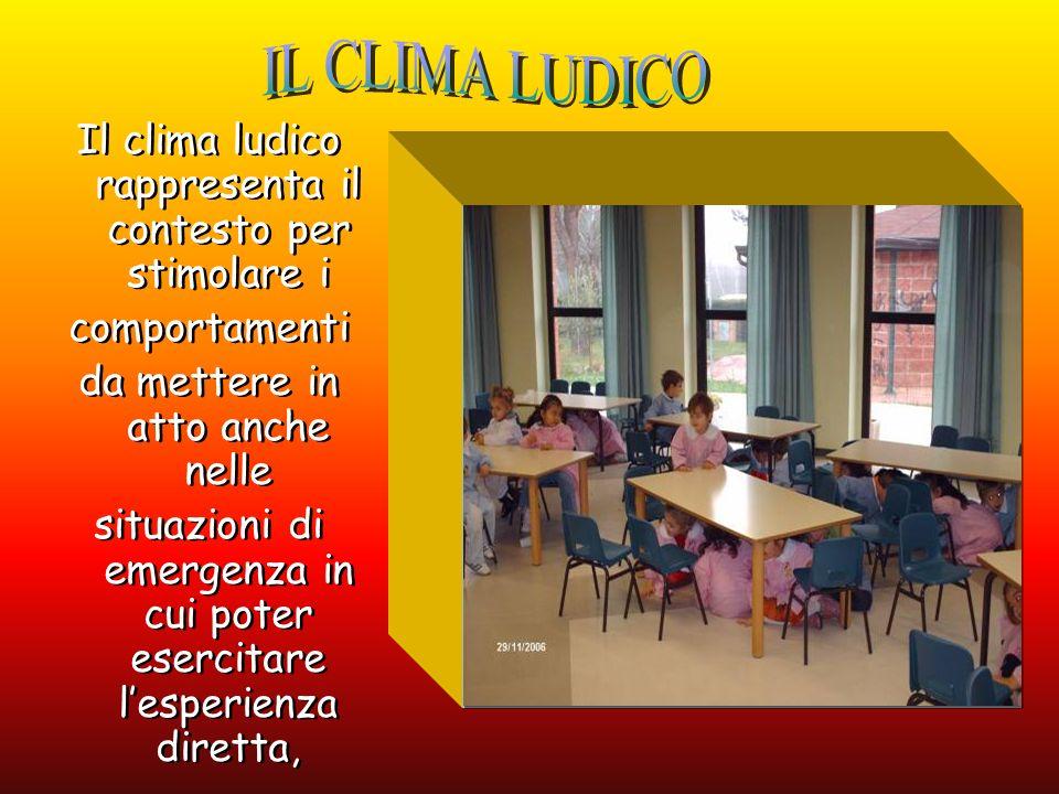 IL CLIMA LUDICO Il clima ludico rappresenta il contesto per stimolare i. comportamenti. da mettere in atto anche nelle.