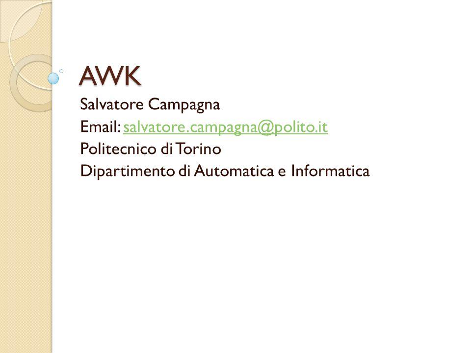 AWK Salvatore Campagna Email: salvatore.campagna@polito.it