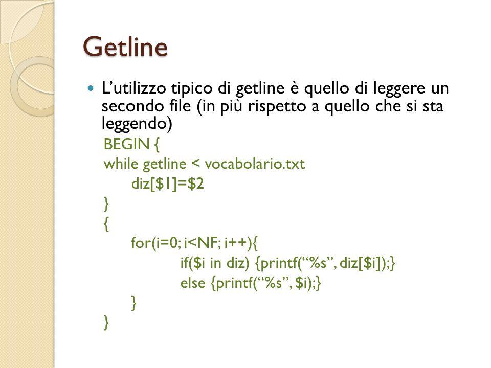 Getline L'utilizzo tipico di getline è quello di leggere un secondo file (in più rispetto a quello che si sta leggendo)