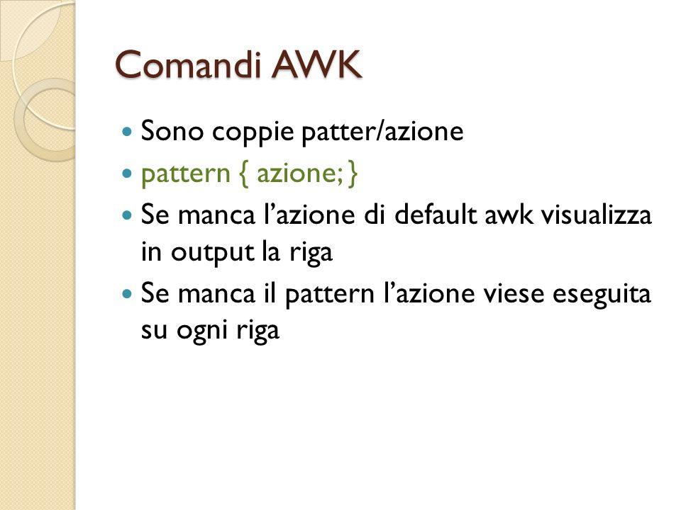 Comandi AWK Sono coppie patter/azione pattern { azione; }