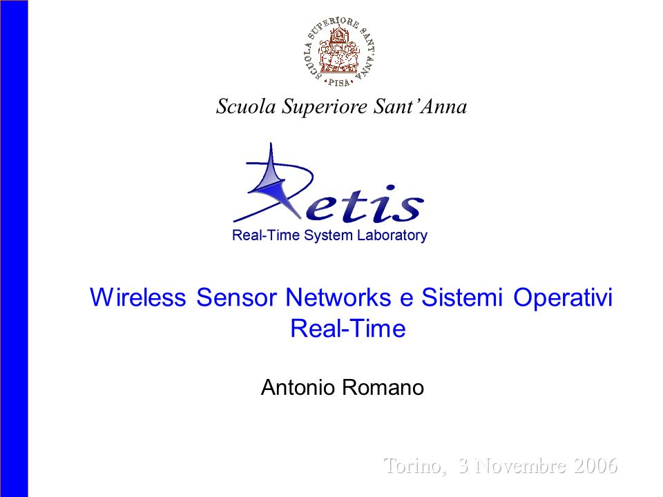 Wireless Sensor Networks e Sistemi Operativi Real-Time