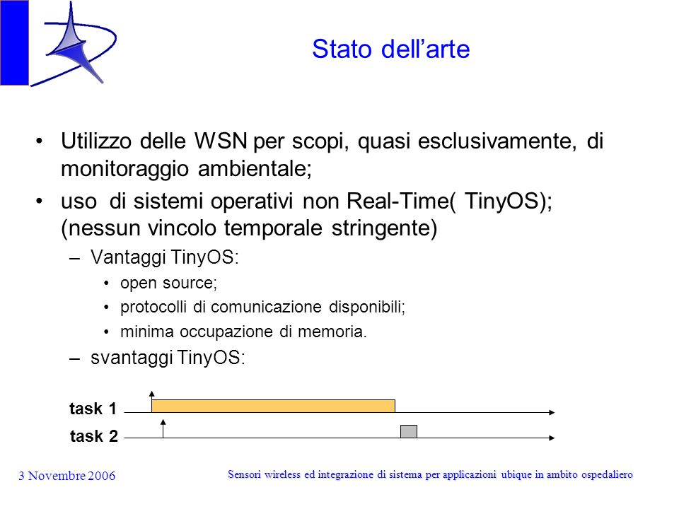 Stato dell'arte Utilizzo delle WSN per scopi, quasi esclusivamente, di monitoraggio ambientale;
