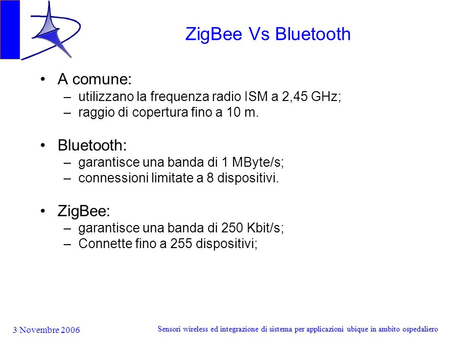 ZigBee Vs Bluetooth A comune: Bluetooth: ZigBee: