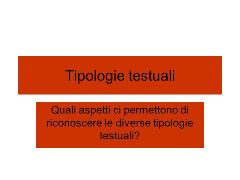 Tipologie testuali Quali aspetti ci permettono di riconoscere le diverse tipologie testuali