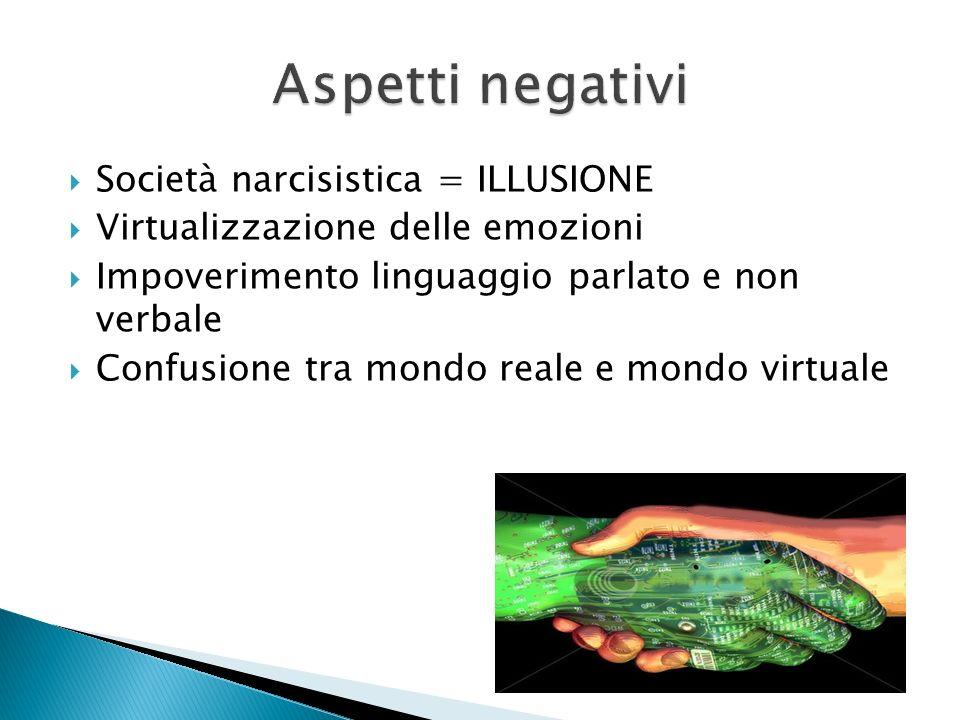 Aspetti negativi Società narcisistica = ILLUSIONE