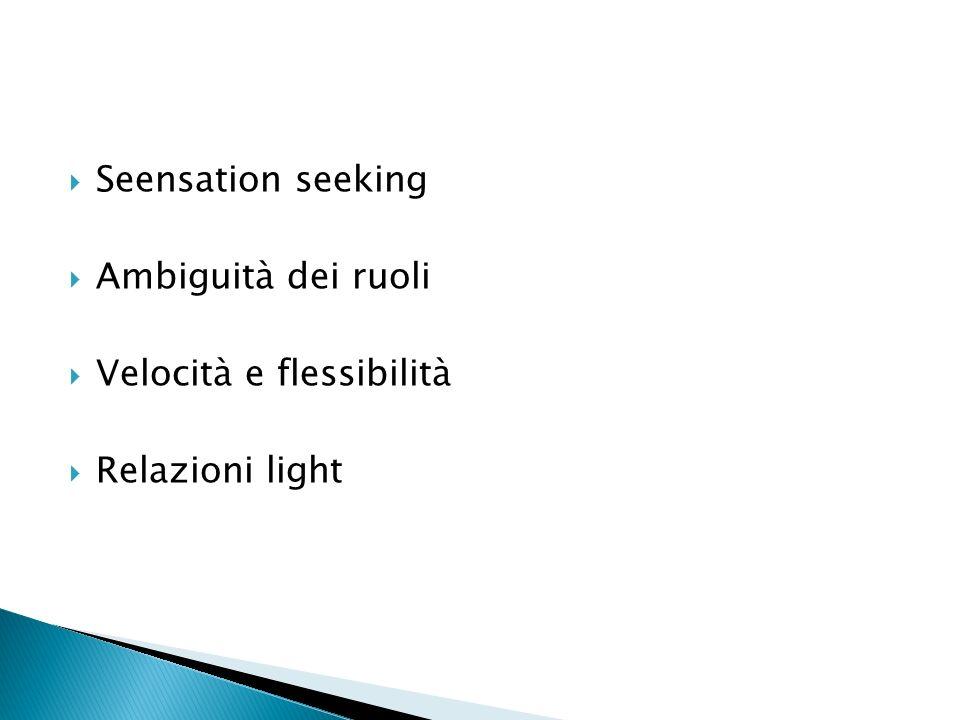 Seensation seeking Ambiguità dei ruoli Velocità e flessibilità Relazioni light