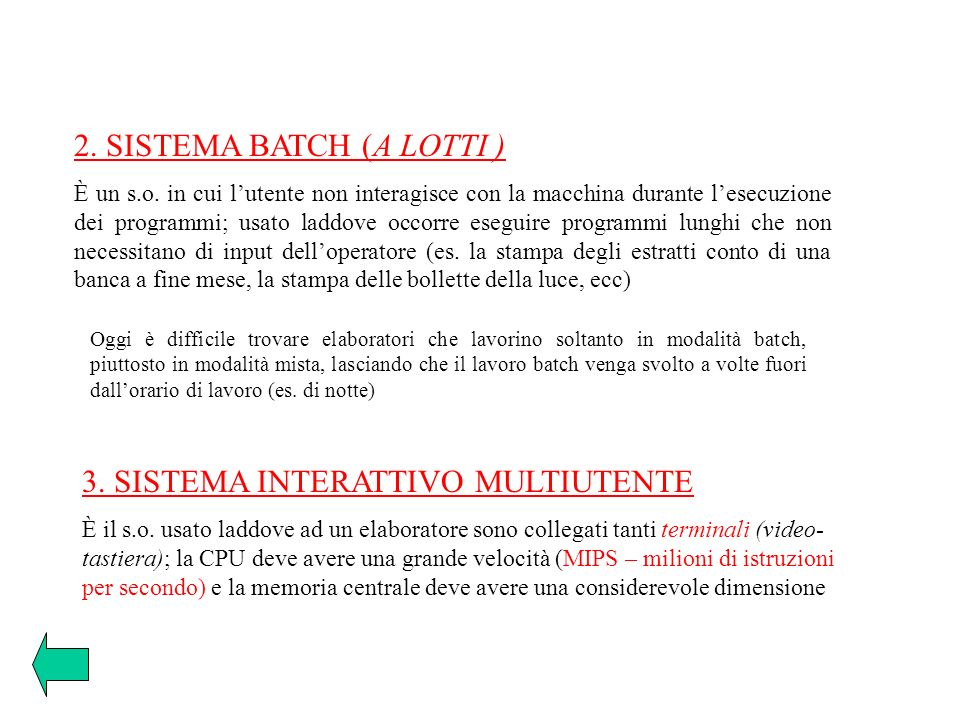 2. SISTEMA BATCH (A LOTTI )