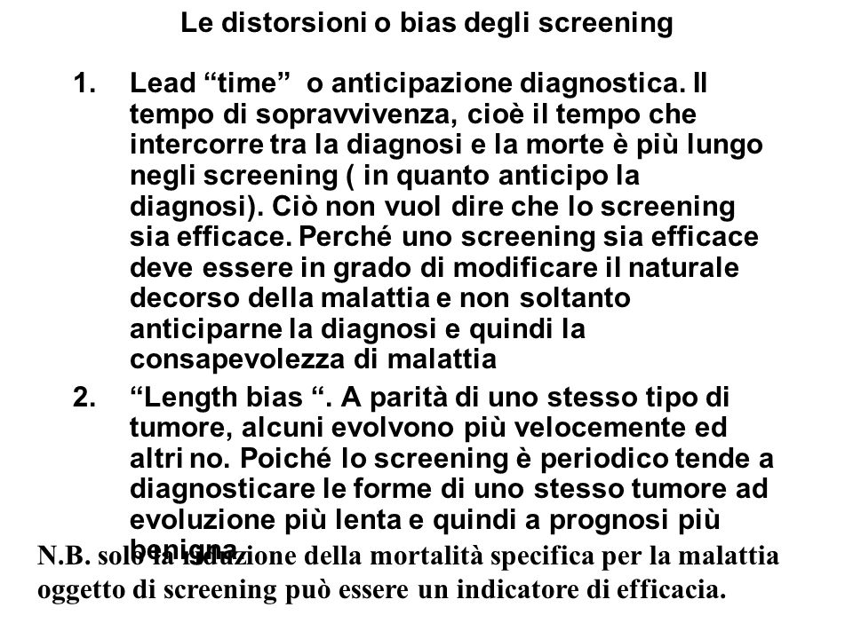 Le distorsioni o bias degli screening