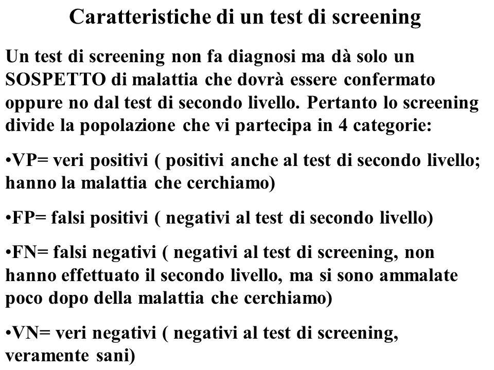Caratteristiche di un test di screening