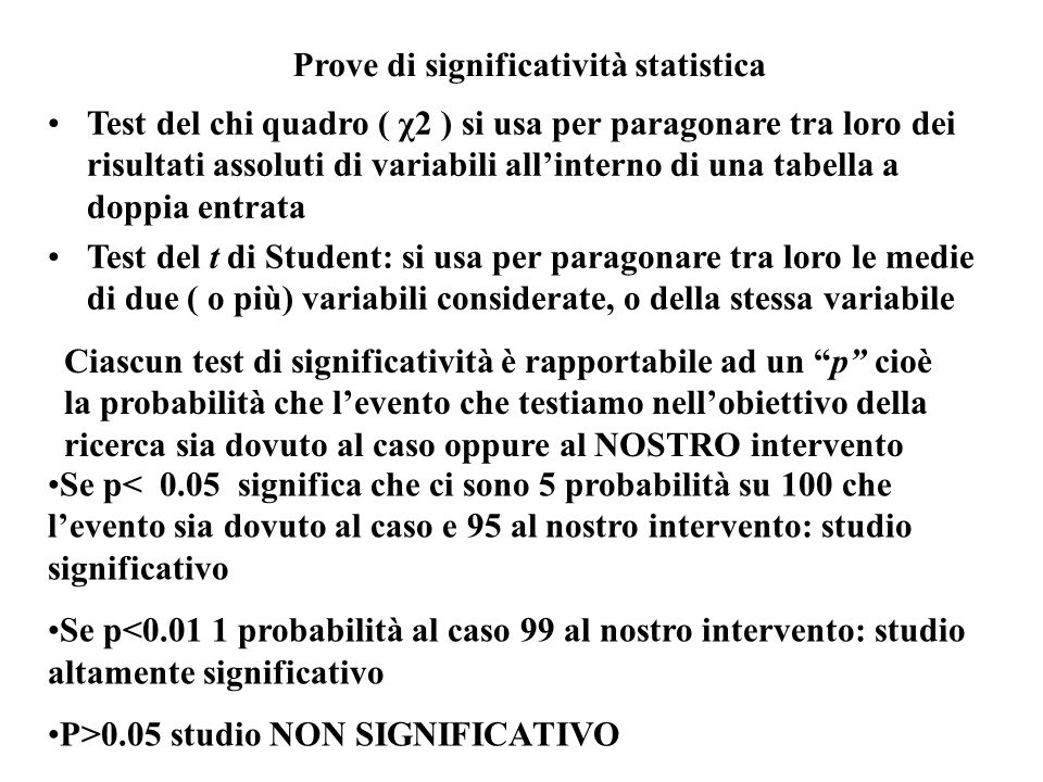Prove di significatività statistica