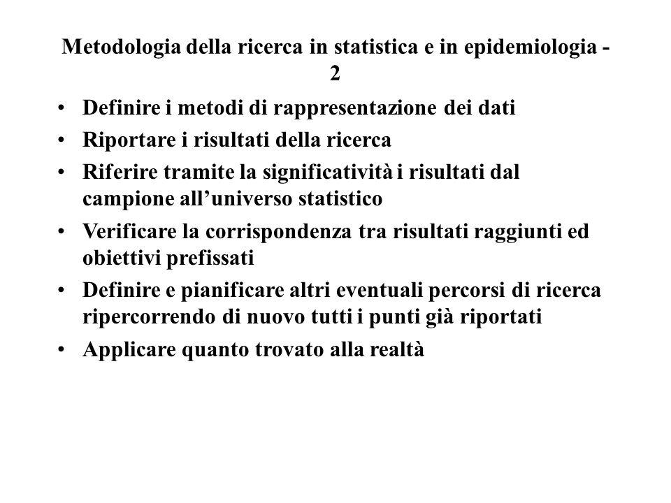 Metodologia della ricerca in statistica e in epidemiologia - 2