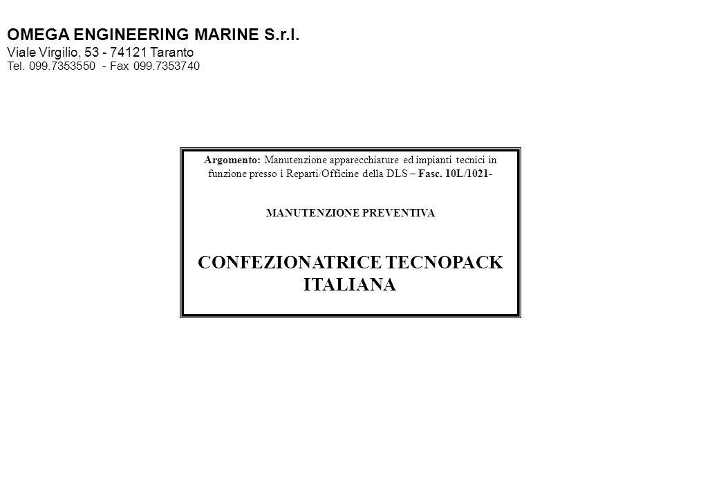 MANUTENZIONE PREVENTIVA CONFEZIONATRICE TECNOPACK ITALIANA