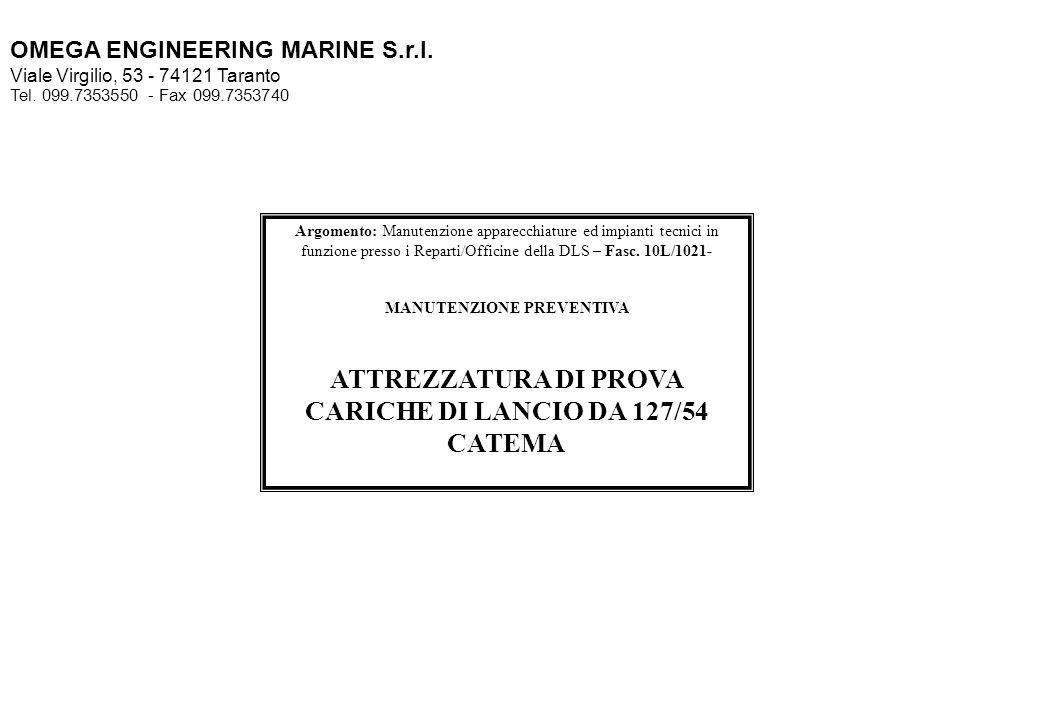 ATTREZZATURA DI PROVA CARICHE DI LANCIO DA 127/54 CATEMA
