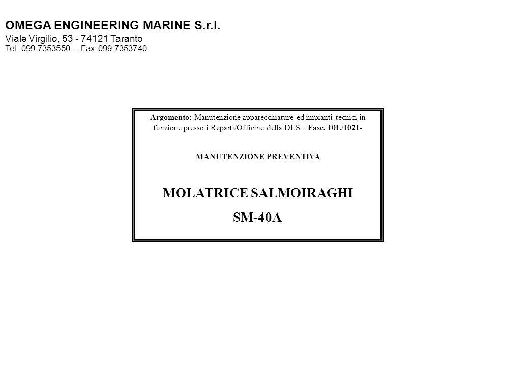 MANUTENZIONE PREVENTIVA MOLATRICE SALMOIRAGHI