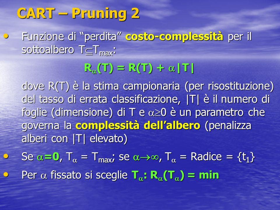 CART – Pruning 2 Funzione di perdita costo-complessità per il sottoalbero TTmax: R(T) = R(T) + |T|