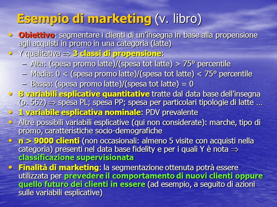 Esempio di marketing (v. libro)