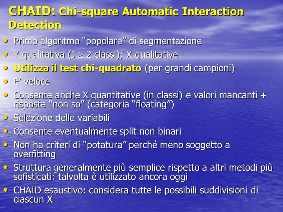 CHAID: Chi-square Automatic Interaction Detection
