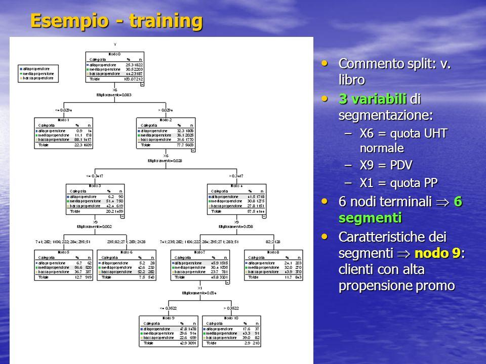 Esempio - training Commento split: v. libro