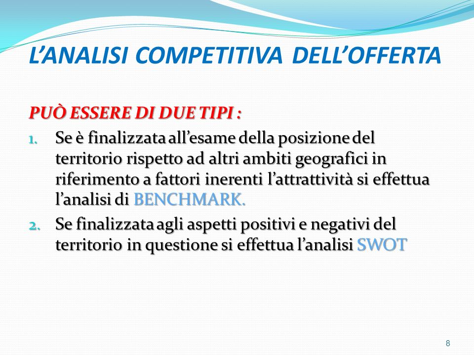 L'ANALISI COMPETITIVA DELL'OFFERTA