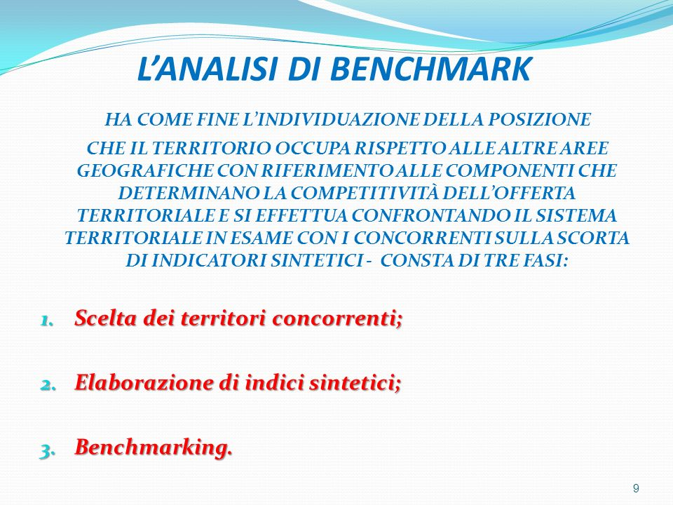 L'ANALISI DI BENCHMARK