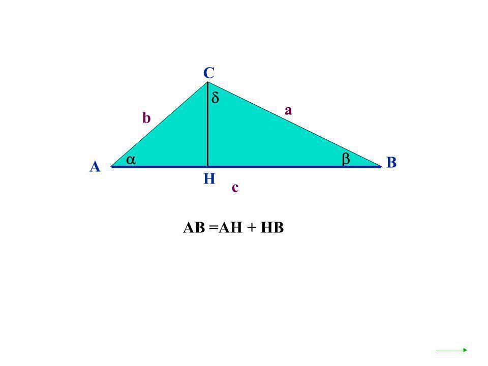C  a b   B A H c AB =AH + HB