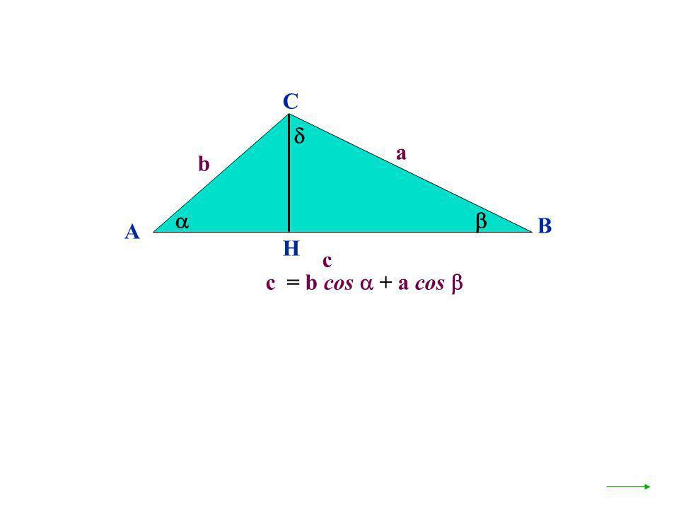C  a b   B A H c c = b cos  + a cos 