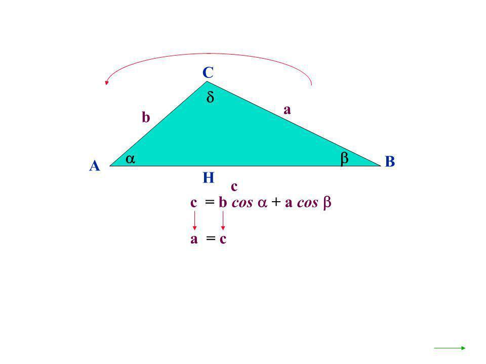C  a b   B A H c c = b cos  + a cos  a = c