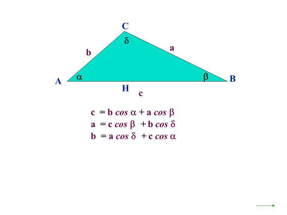 C  a b   B A H c c = b cos  + a cos  a = c cos + b cos  b = a cos + c cos 
