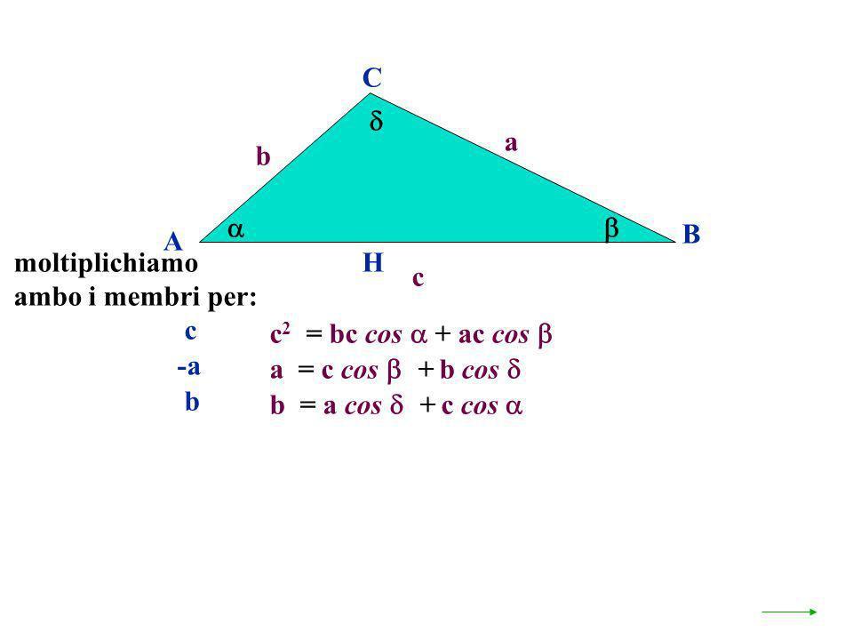 C a. b.   B. A. moltiplichiamo. ambo i membri per: H. c. c. c2 = bc cos  + ac cos  -a. a = c cos + b cos 