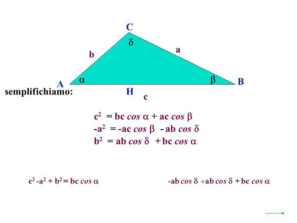 C  a b   B A semplifichiamo: H c c2 = bc cos  + ac cos 
